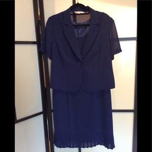 🌼3/25 Navy blue 2pc dress sheer jacket, sz 14